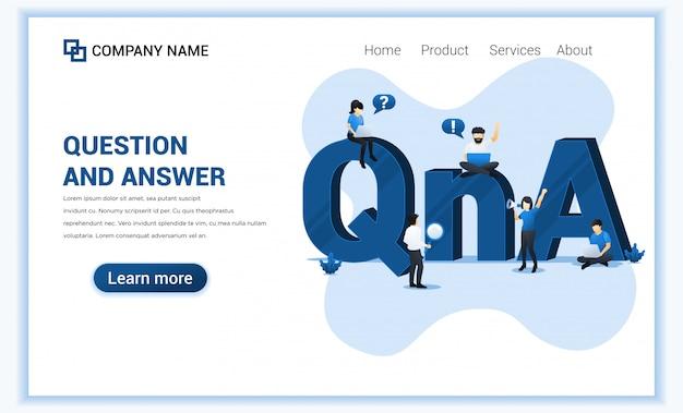 Concept de questions et réponses avec des personnes travaillant près du grand symbole qna.