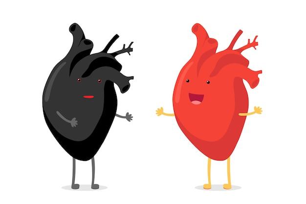 Concept de racisme confusion coeur humain noir vs heureux souriant émotion emoji mignon caractère rouge de
