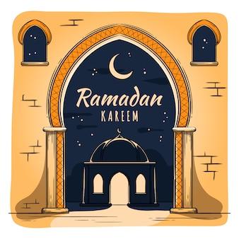 Concept de ramadan dessiné à la main