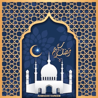 Concept de ramadan kareem avec fond de texte calligraphique