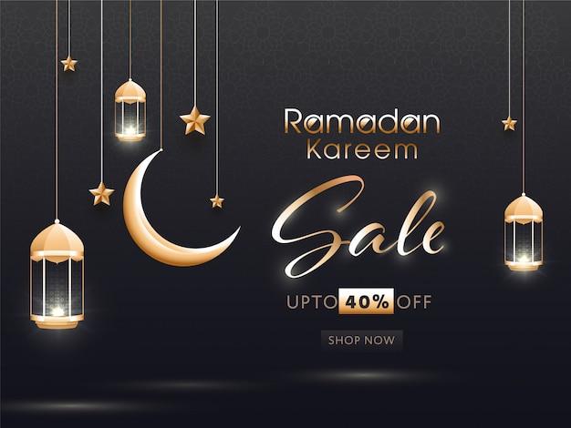 Concept de ramadan kareem avec des lanternes lumineuses suspendues, des étoiles et un croissant de lune sur fond noir.