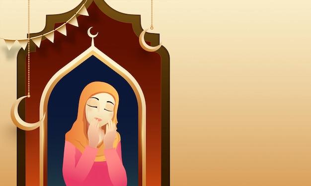 Le concept de ramadan mubarak avec une jeune femme islamique lisant sainte est