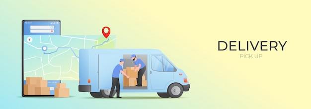 Concept de ramassage et de livraison en ligne mobile.