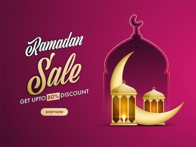Concept ramdan avec illustration du croissant de lune doré, lanternes, mosquée sur fond de couleur fuchsia.
