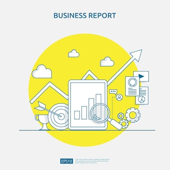 Concept de rapport de données de document graphique pour les statistiques commerciales, l'analyse des investissements, la planification de la recherche et la comptabilité d'audit des finances avec feuille de papier, mains, loupe, paperasse, graphiques, élément de graphiques
