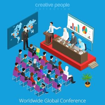 Concept de rapport de scène de salle de réunion de conférence mondiale dans le monde entier.