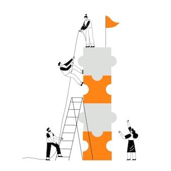 Le concept de réalisation conjointe de travail d'équipe se dirige vers un objectif ensemble