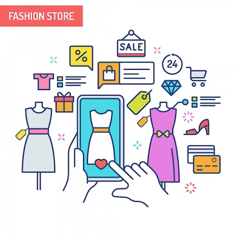 Concept de réalité augmentée - magasin de mode