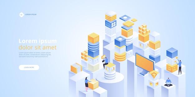 Concept de réalité augmentée. technologie de la ville intelligente. page de destination