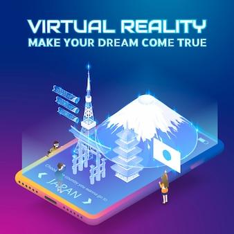 Concept de réalité virtuelle dans un style de projection isométrique