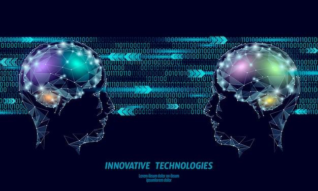 Concept de réalité virtuelle low poly cerveau abstraite.