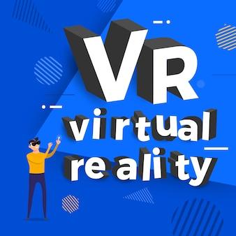 Concept réalité virtuelle vr. homme et lunettes montrent la typographie. illustrations.