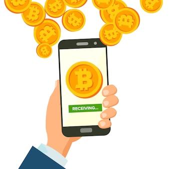 Concept de réception de bitcoins mobiles