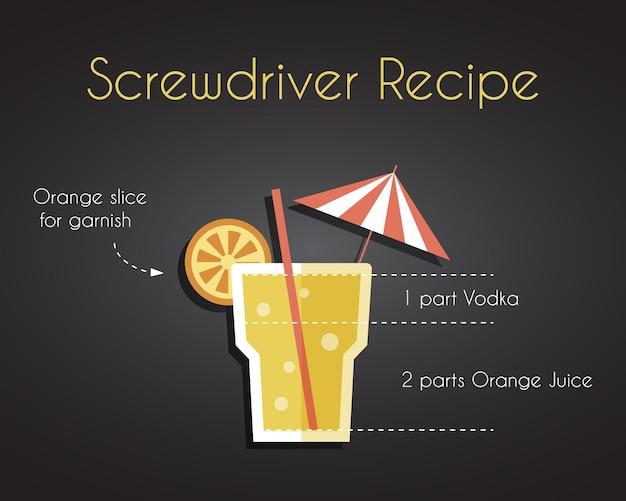 Concept de recette de boisson cocktail tournevis