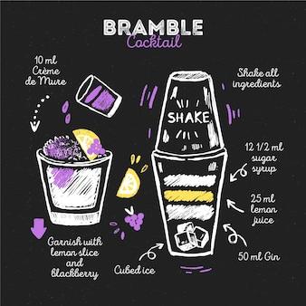 Concept de recette de cocktail tableau noir