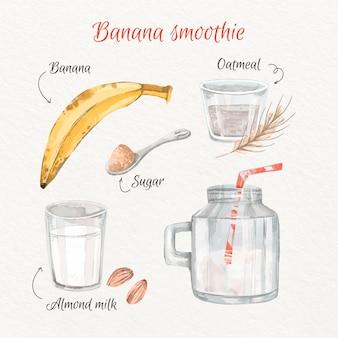 Concept de recette de smoothie à la banane aquarelle