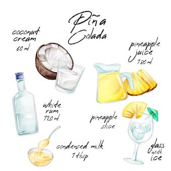 Concept de recettes aquarelle