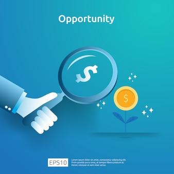 Concept de recherche analytique et d'opportunité idée d'affaires avec augmentation graphique de croissance graphique et loupe à portée de main. finance performance de retour sur investissement roi illustration avec élément de flèche