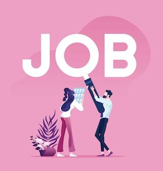 Concept de recherche d'emploi homme d'affaires avec une loupe