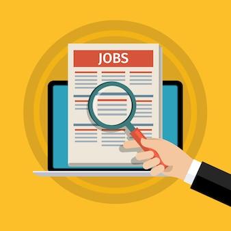 Concept de recherche d'emploi. main tenant un journal et un crayon. design plat