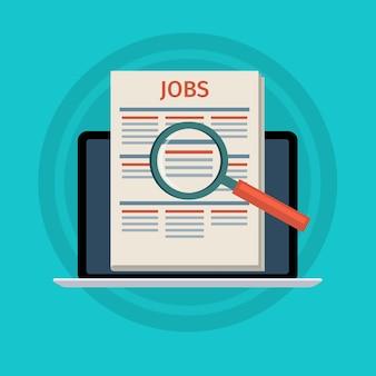 Concept de recherche d'emploi. ordinateur portable avec journal et loupe à l'écran. design plat,.