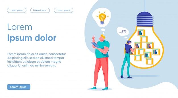 Concept de recherche d'idées d'idées clés, page de destination