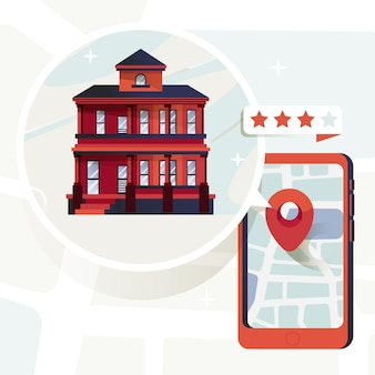 Concept de recherche immobilière avec téléphone