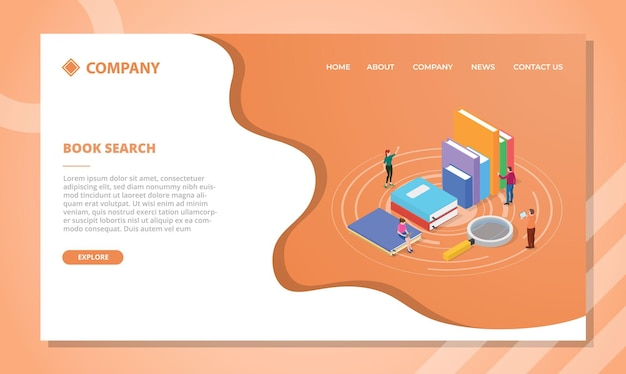 Concept de recherche de livre pour modèle de site web ou page d'accueil de destination