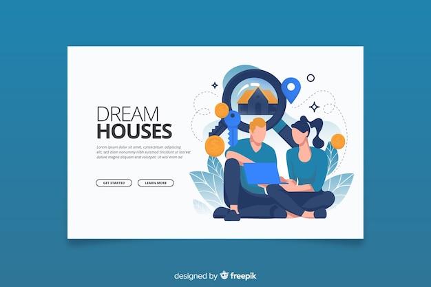 Concept de recherche de maison de page de destination