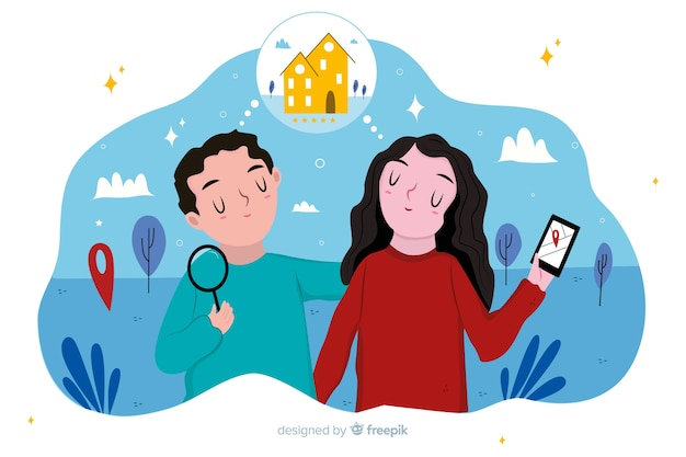 Concept de recherche de maison pour la page de destination