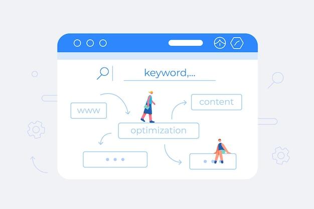 Concept de recherche de mots-clés seo dans un design plat