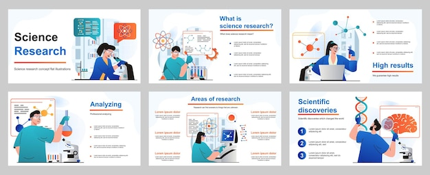 Concept de recherche scientifique pour le modèle de diapositive de présentation les scientifiques font des tests