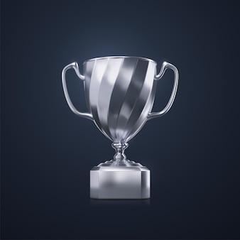 Concept de récompense sportive de la coupe du champion d'argent isolé sur fond noir