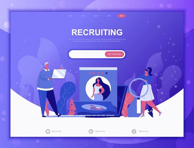 Concept de recrutement commercial plat, modèle web de page de destination