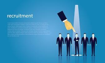Concept de recrutement commercial sélection d'un homme d'affaires