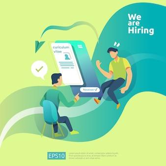 Concept de recrutement en ligne et d'embauche avec caractère de personnes. entretien d'agence sélectionner un processus de cv pour le modèle de médias sociaux, la page de destination web, la bannière, la présentation