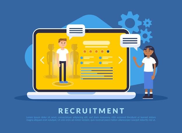 Concept de recrutement avec des personnes illustrées