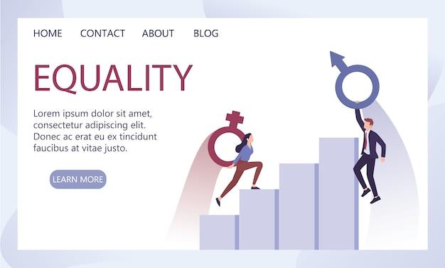 Concept de recrutement et de sexisme d'entreprise. iniquité et problème de carrière de la femme. plafond de verre et écart salarial entre les sexes. femme d'affaires escalade une échelle de carrière.