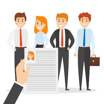 Concept de recruteur. choisir un candidat pour embaucher et lire un cv ou un curriculum vitae. gestion des ressources humaines. ligne plate