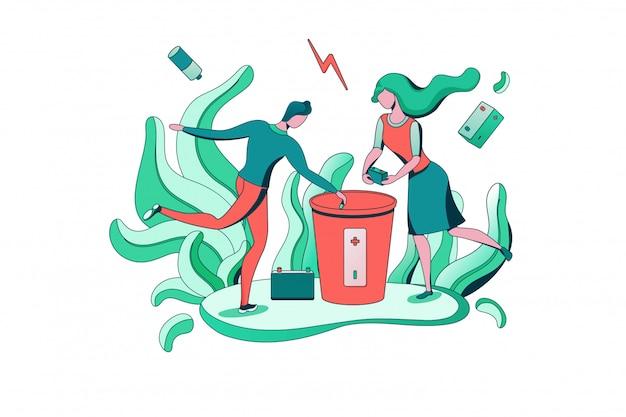 Concept de recyclage des batteries, élimination des batteries dans une poubelle spéciale
