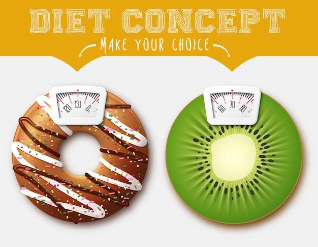 Concept de régime. aliments avec balance pour une machine de pesage