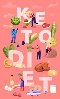 Concept de régime cétogène. personnages masculins et féminins avec des légumes, du poisson, de la viande, du fromage et des noix équilibrés à faible teneur en glucides. illustration plate de dessin animé