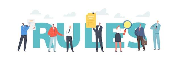 Concept de règles. personnages lisez les lois commerciales, les règlements et les normes, les pratiques éthiques, les conditions du cabinet. règles de conformité d'entreprise, affiche, bannière ou dépliant. illustration vectorielle de gens de dessin animé