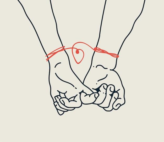 Concept de relations de couple d'hommes et de femmes ou de garçons et de filles avec deux mains petits doigts
