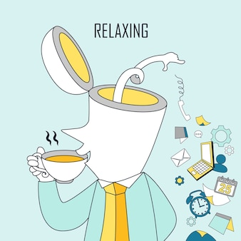 Concept relaxant : un homme boit du café dans un style de ligne