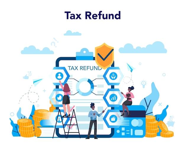 Concept de remboursement d'impôt. déclaration fiscale approuvée. idée de comptabilité