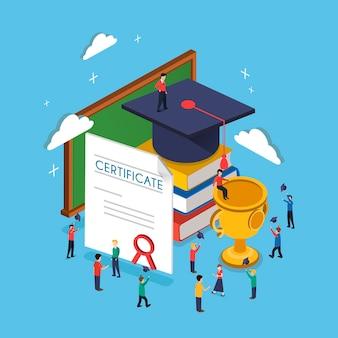 Concept de remise des diplômes au design plat isométrique 3d