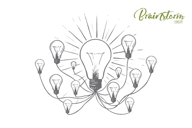 Concept de remue-méninges. ampoules dessinées à la main comme symbole de nouvelles idées. idées pour l'illustration isolée des affaires efficaces.