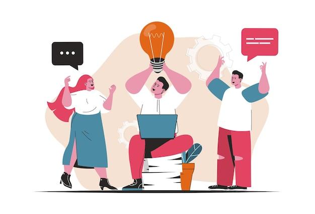 Concept de remue-méninges isolé. travail d'équipe sur projet, générer de nouvelles idées, innovations. scène de personnes en dessin animé plat. illustration vectorielle pour les blogs, site web, application mobile, matériel promotionnel.