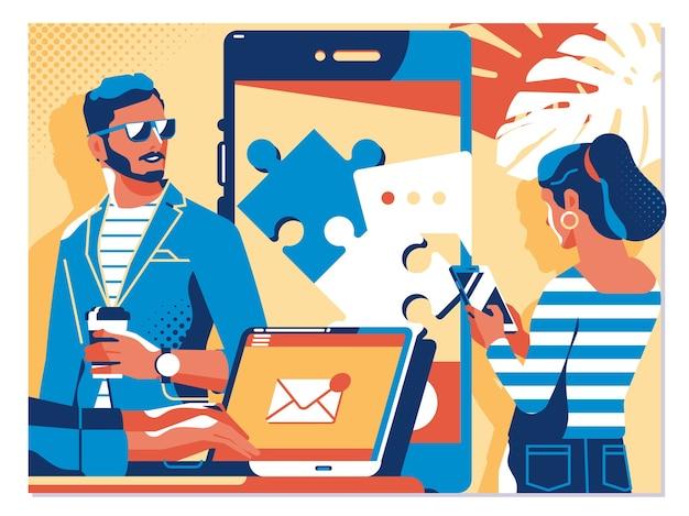 Concept de rencontres en ligne et de réseaux sociaux de relations virtuelles